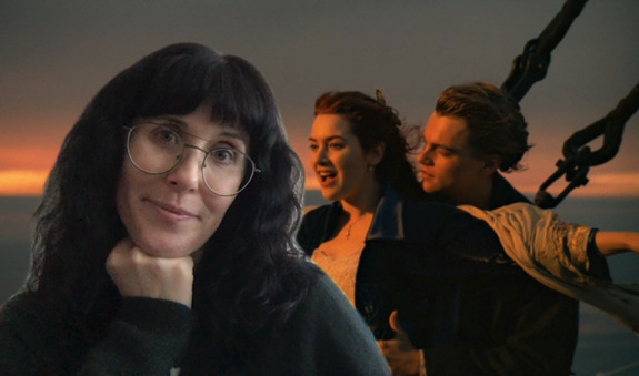 Kristin in front of a video chat background, with Kate Winslet and Leonardo DiCaprio on the Titantic.
